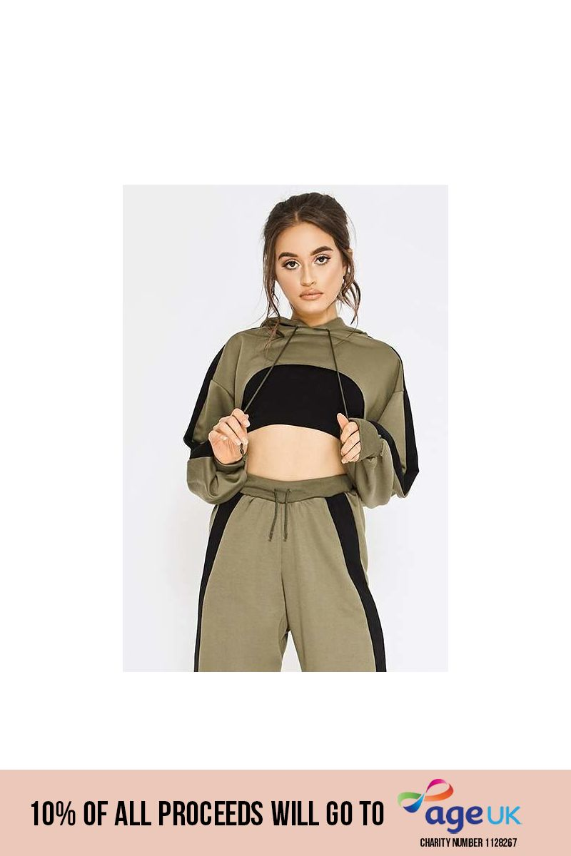 PIA MIA KHAKI STRIPE CROPPED SWEAT HOODIE