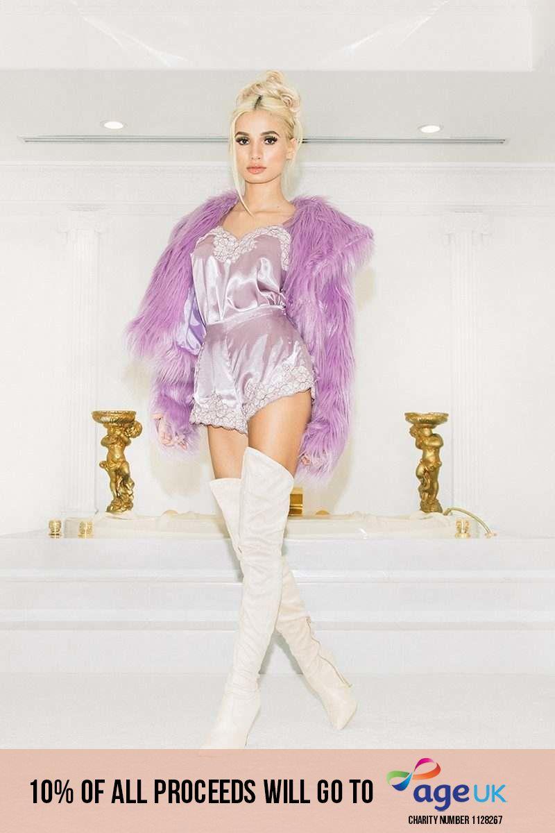 lilac lace trim shorts