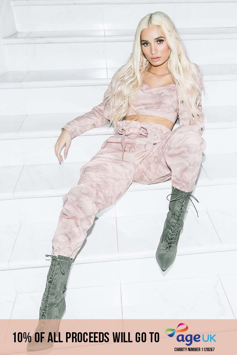 PIA MIA PINK CAMO COMBAT PAPERBAG WAIST TROUSERS