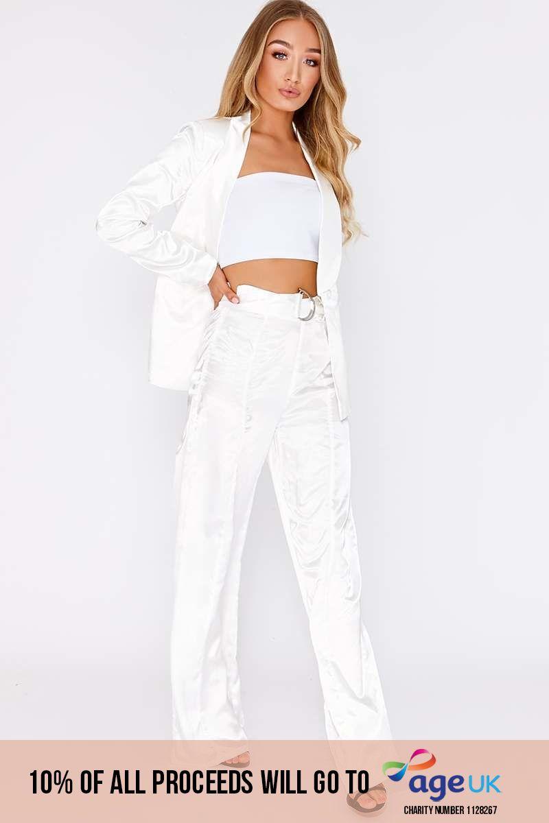 white satin d ring wide leg trousers