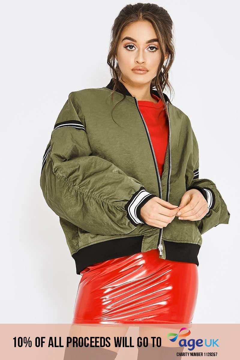 khaki sports stripe oversized bomber jacket
