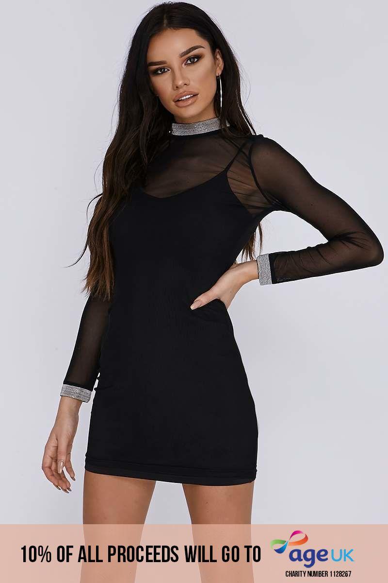 black power mesh chain trim mini dress
