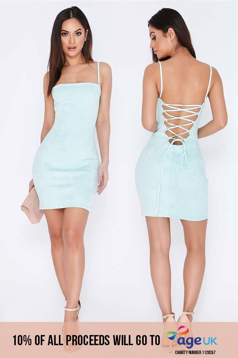 mint lace up faux suede mini dress