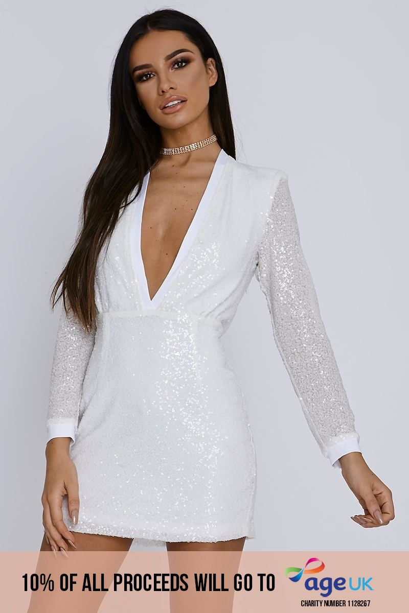 white micro sequin plunge bodycon dress