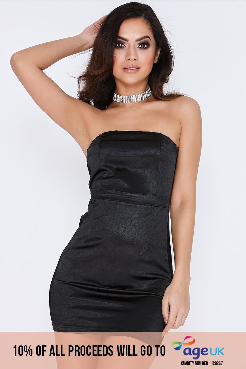 black satin mesh panel bandeau dress