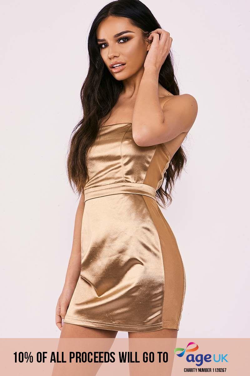 SARAH ASHCROFT GOLD STRETCH SATIN BANDEAU MESH PANEL MINI DRESS