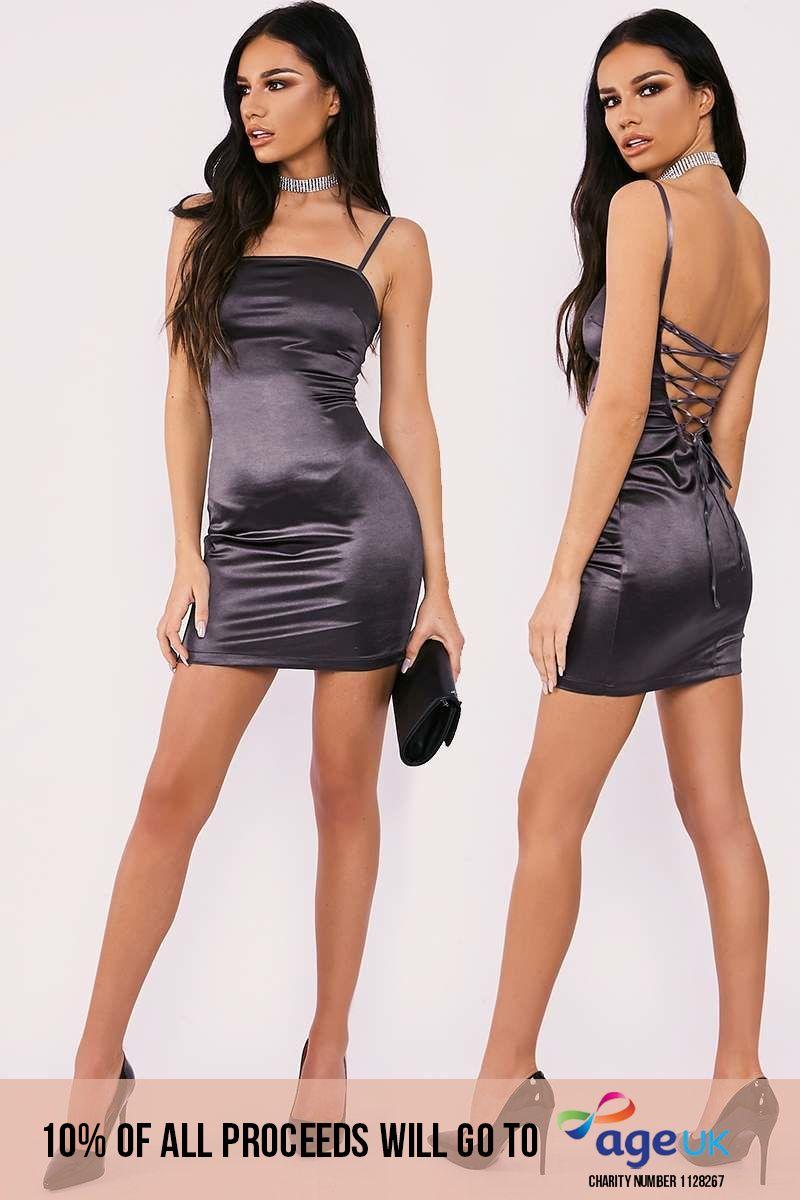 charcoal lace up stretch satin mini dress