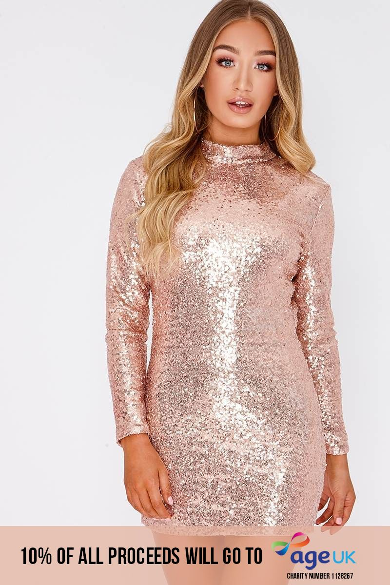 rose gold micro sequin backless mini dress