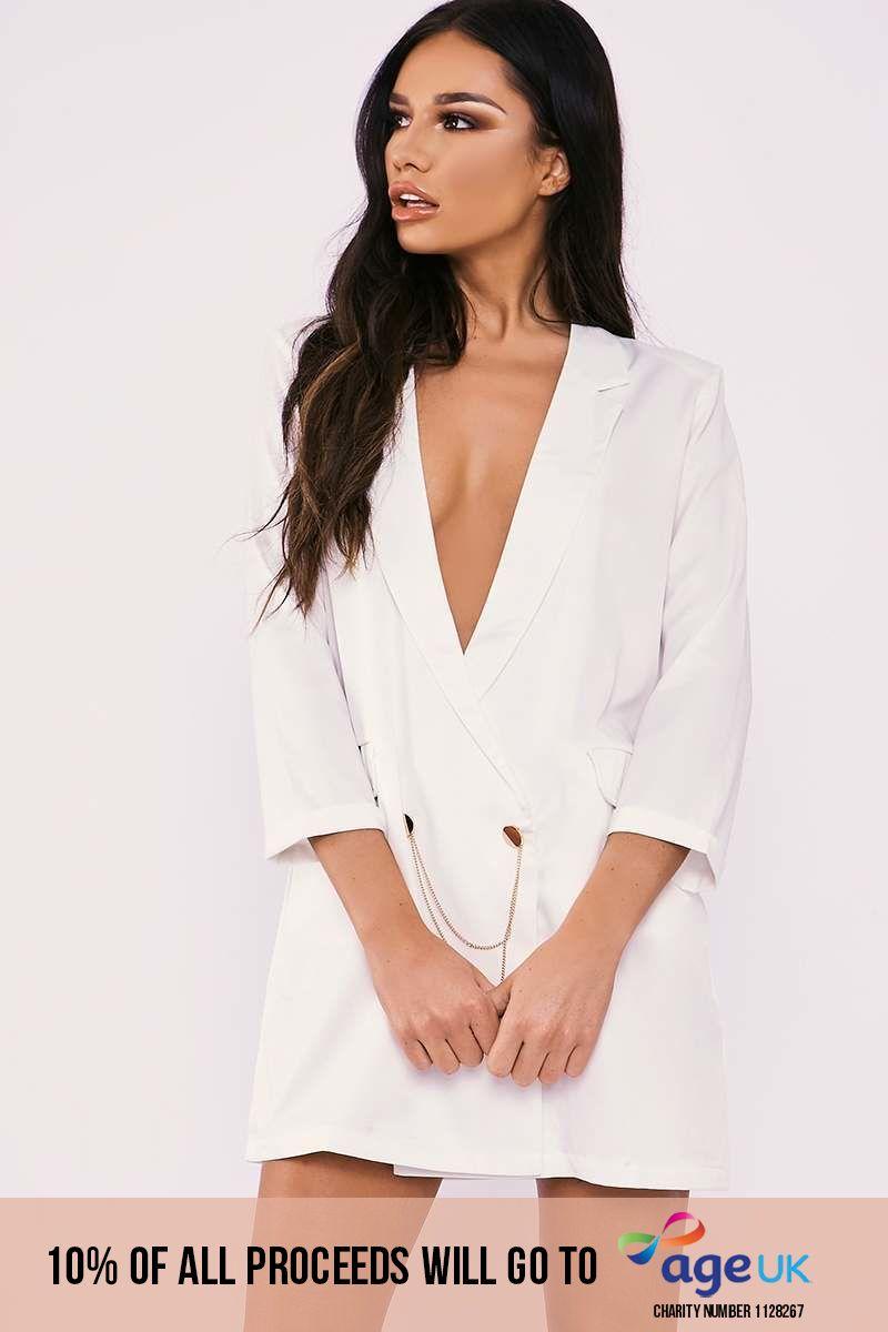 white oversized plunge chain trim blazer dress