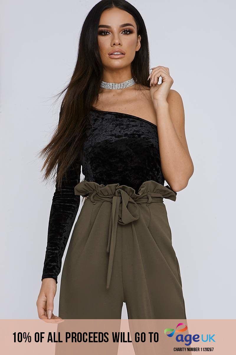 black crushed velvet one sleeve bodysuit