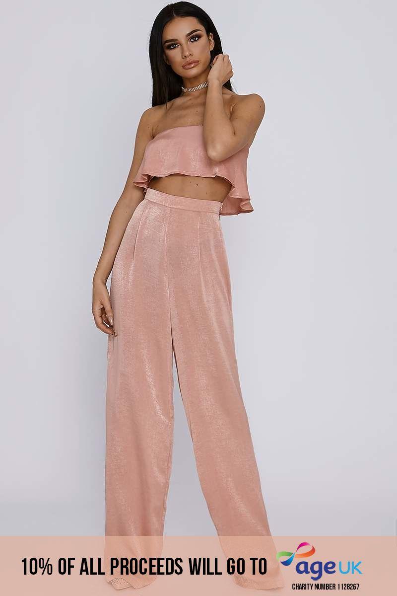 tall blush satin palazzo trousers
