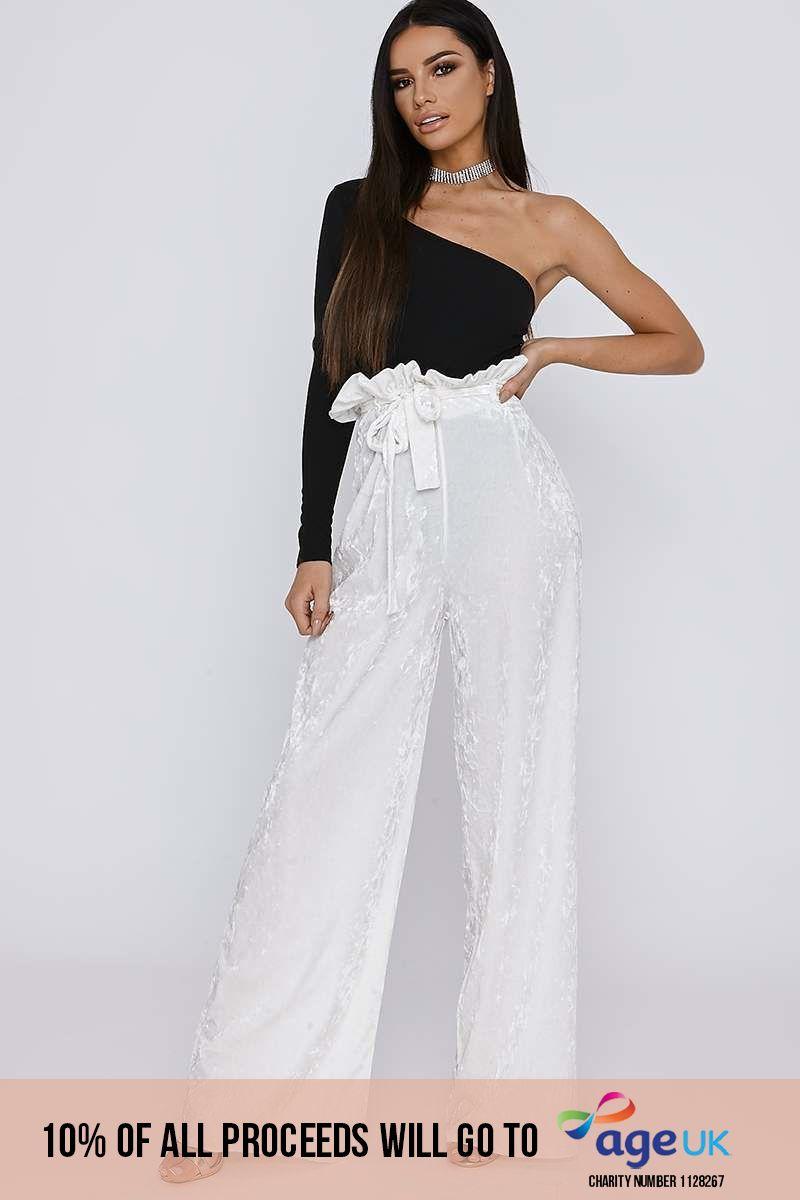 white crushed velvet paperbag waist trousers