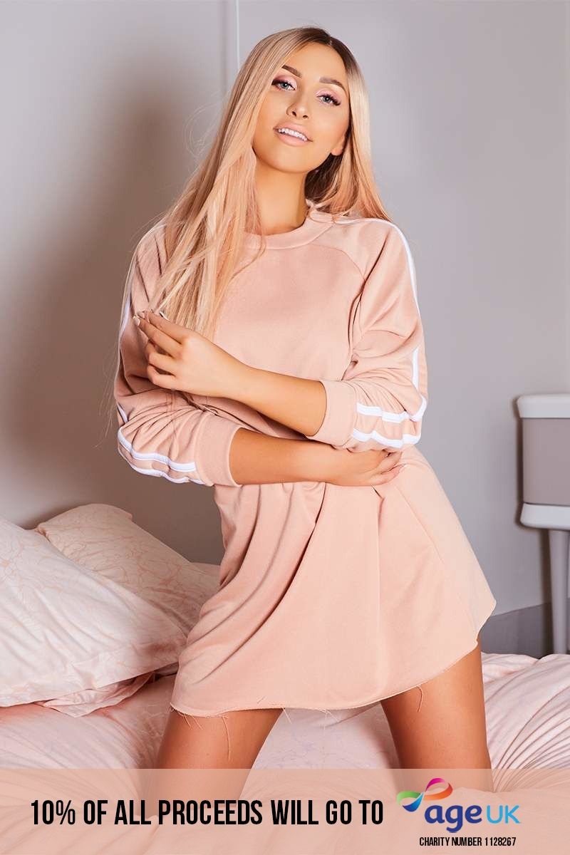 blush sports stripe oversized jumper dress