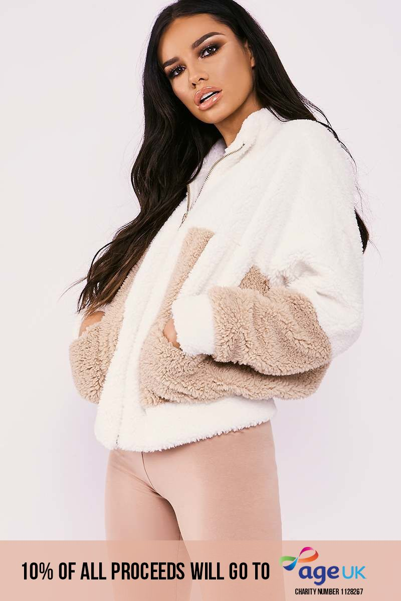 SARAH ASHCROFT CREAM TEDDY FUR CONTRAST PANEL SUPER OVERSIZED JACKET