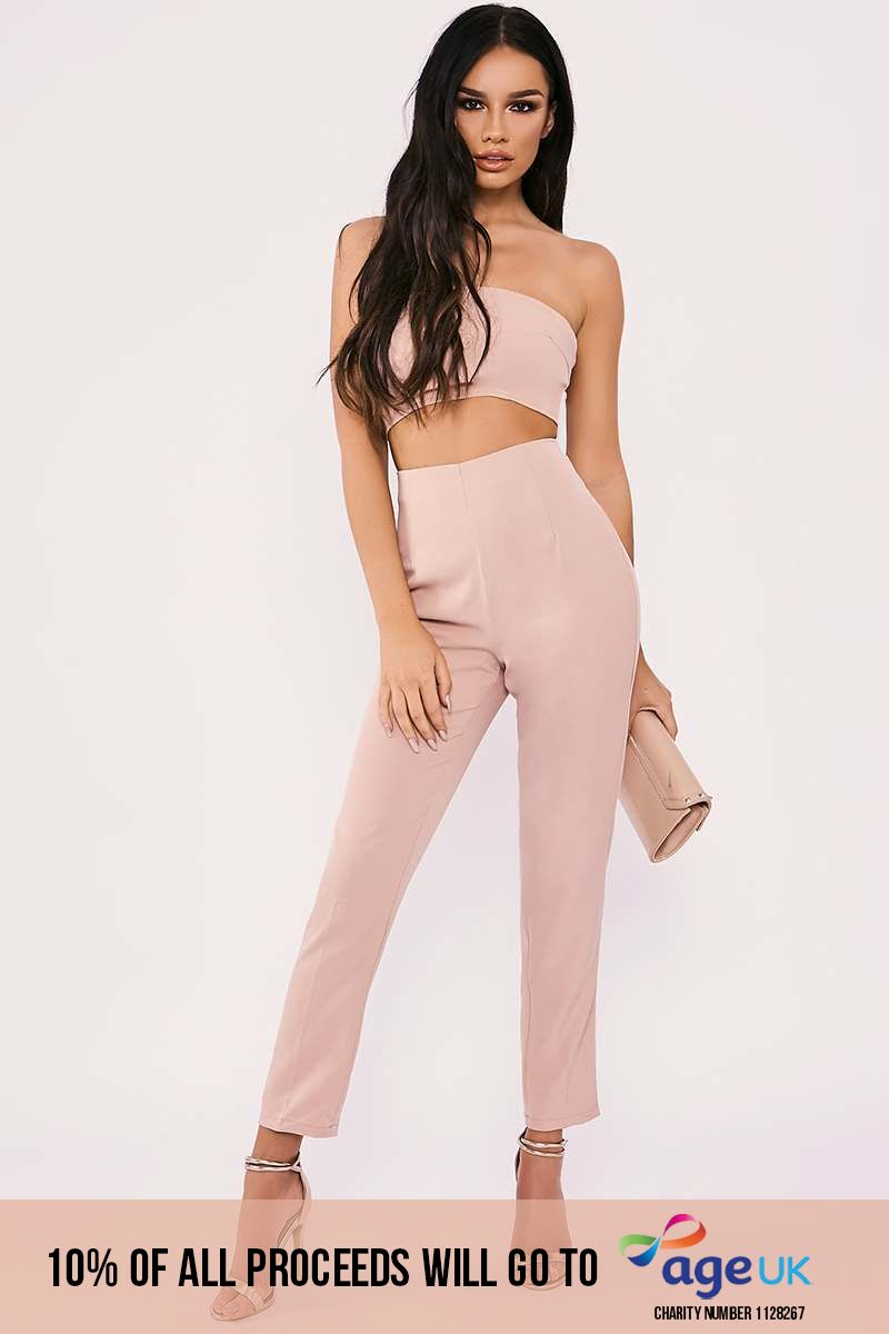nude strapless cut out front tailored jumpsuit