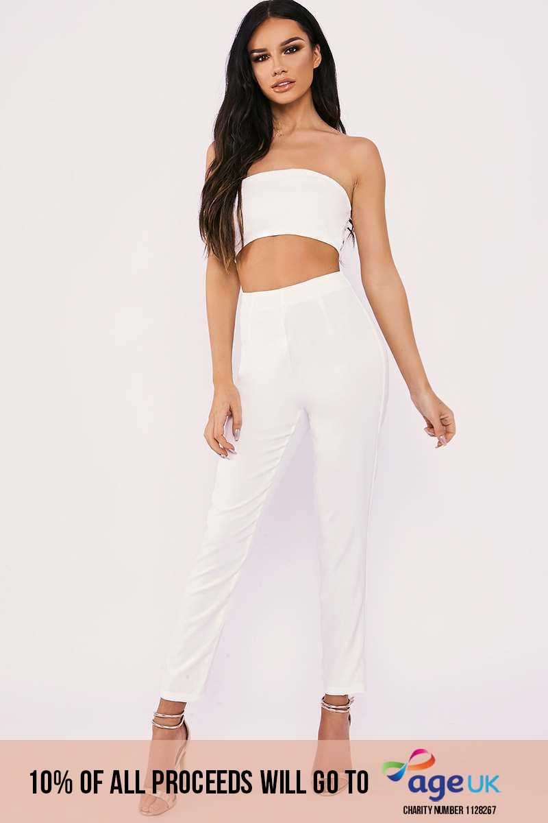 white strapless cut out front tailored jumpsuit
