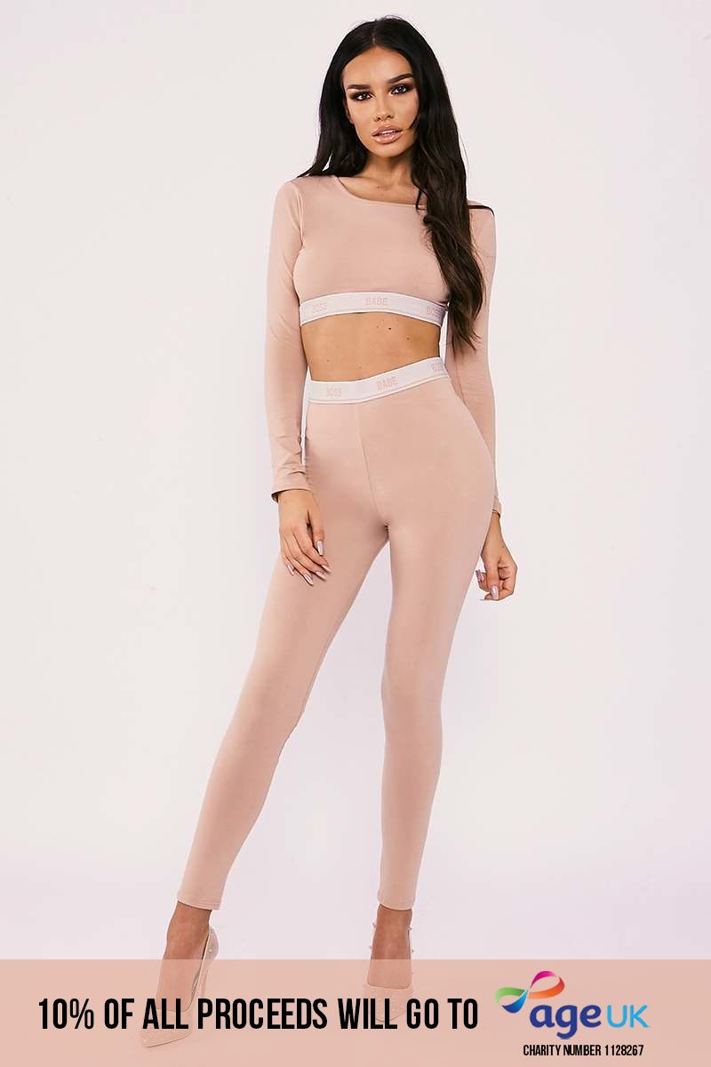boss babe nude high waisted jersey leggings