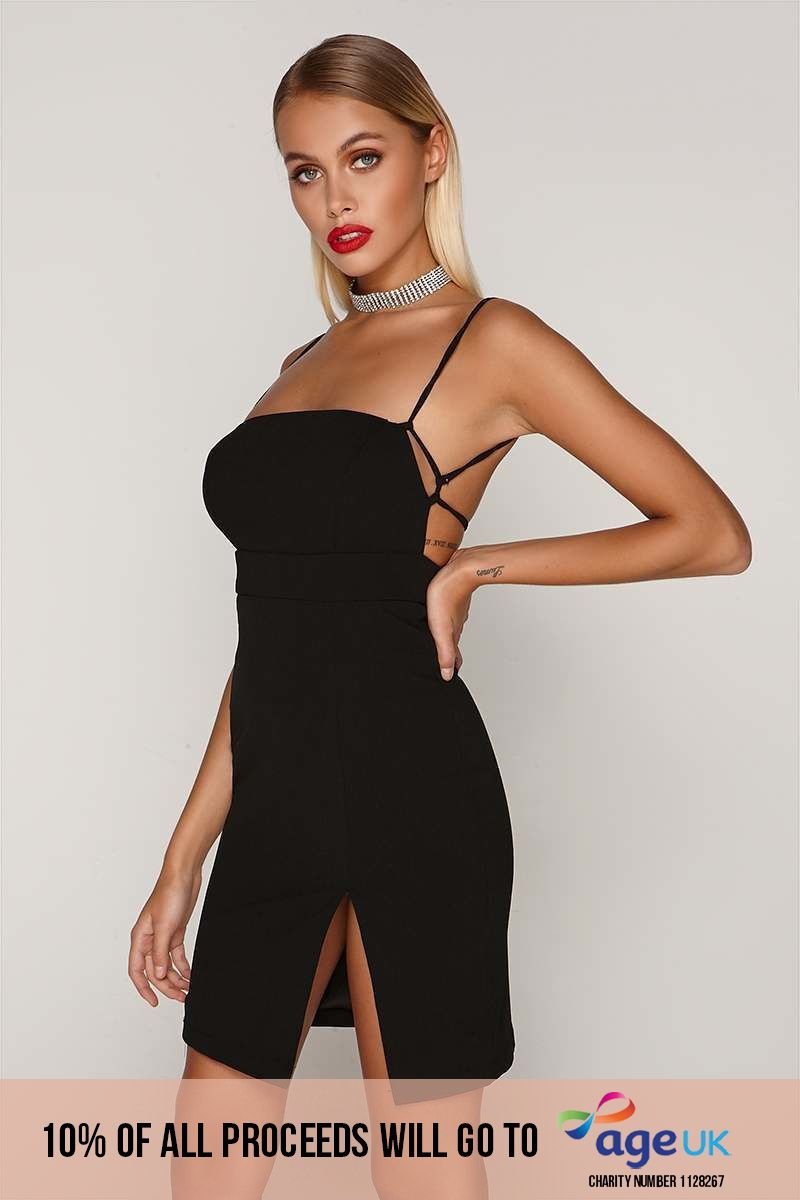 black square neck thigh split dress