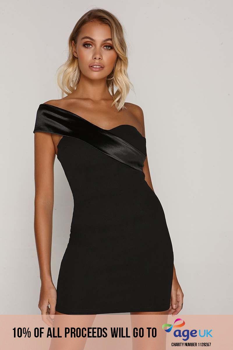 black asymmetric neck dress