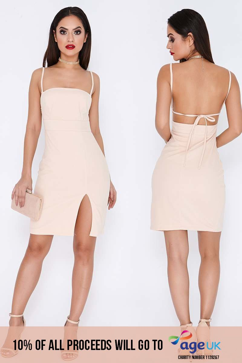 nude square neck thigh split dress