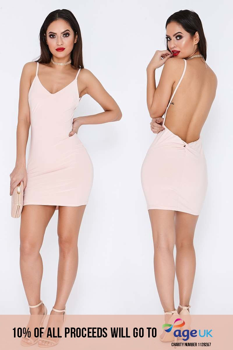 nude ruched knot detail slinky mini dress