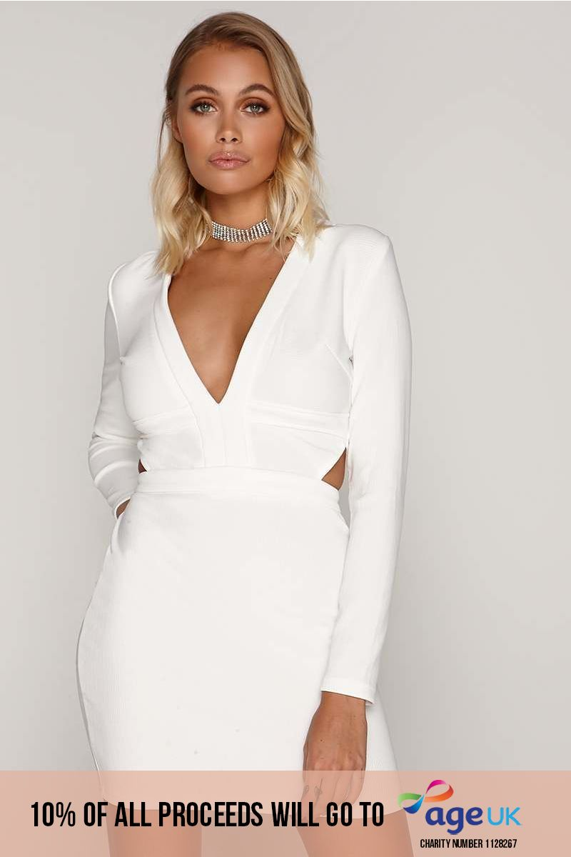 white ribbed plunge cut out mini dress
