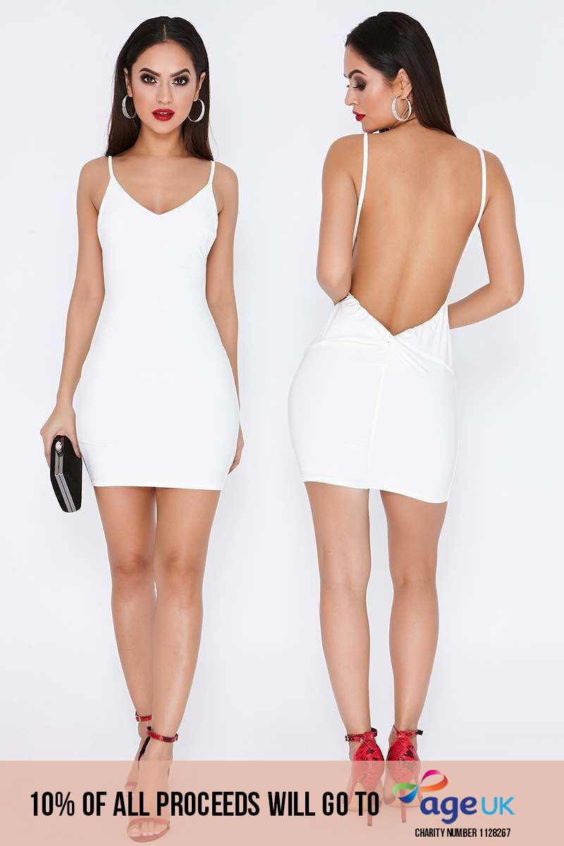 white ruched knot detail slinky mini dress
