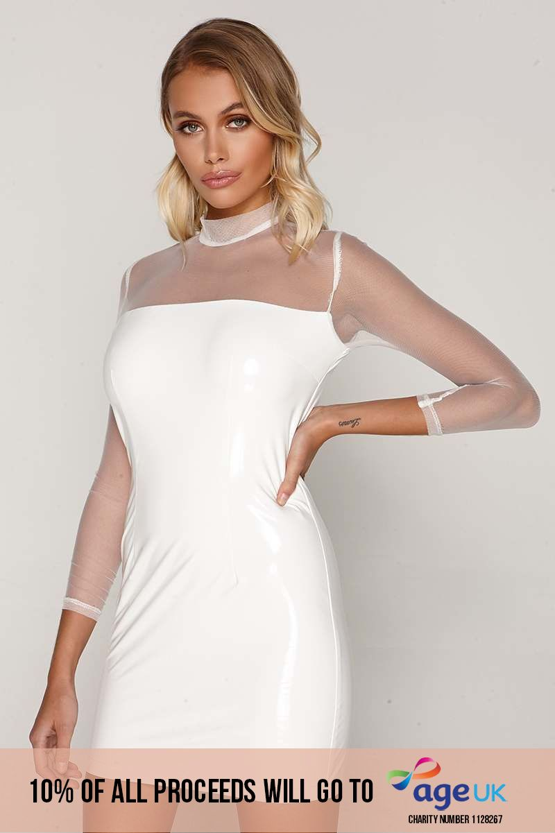 white mesh sleeve vinyl mini dress