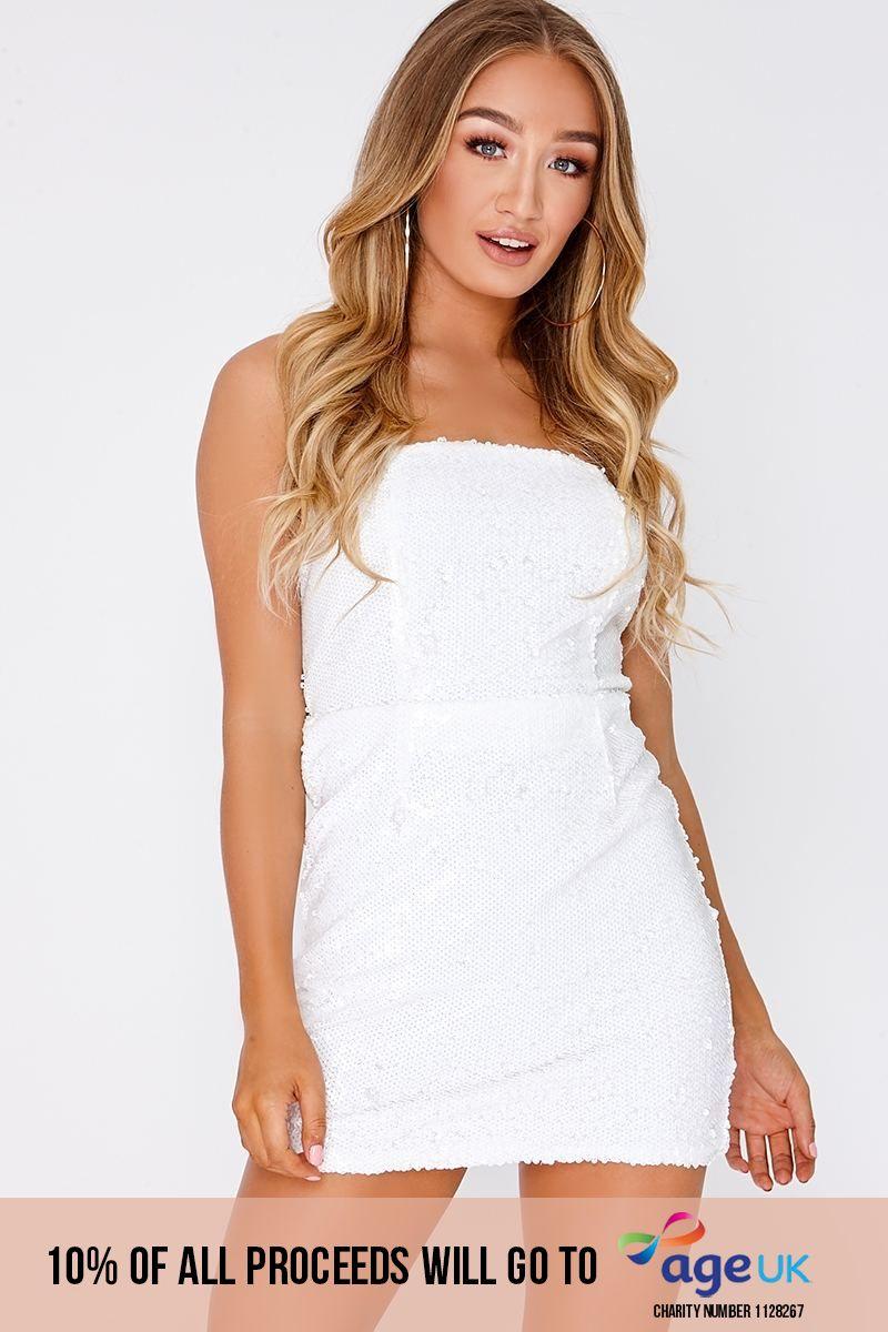 white sequin bandeau mini dress