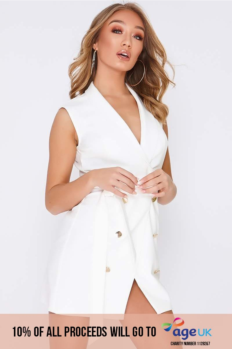 white wrap front blazer dress