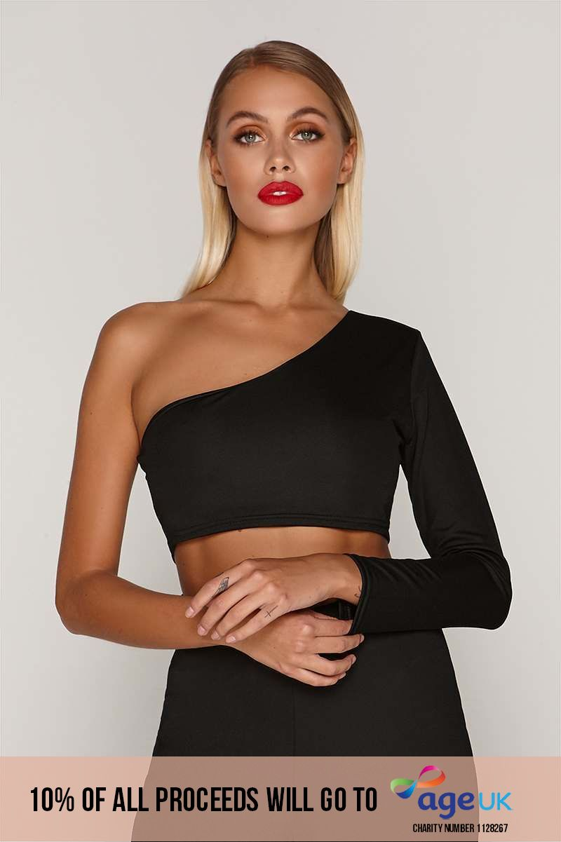 TAMMY HEMBROW BLACK ONE SLEEVE CROP TOP