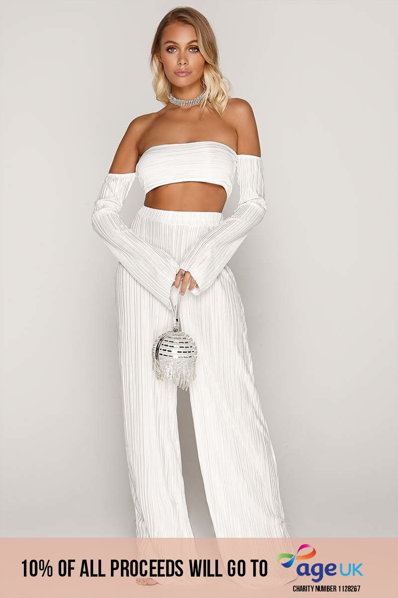 white pleated palazzo trousers