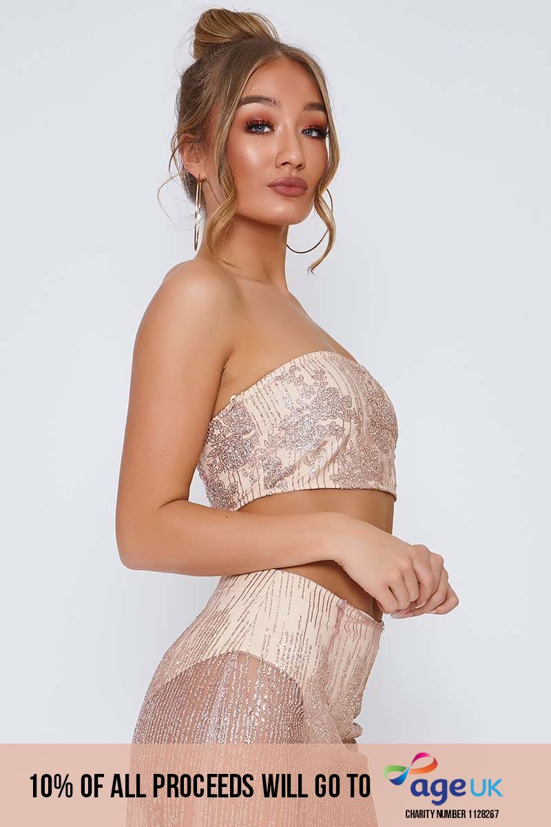 rose gold glitter mesh bandeau top
