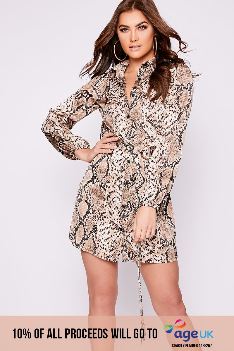brown snakeskin belted shirt dress