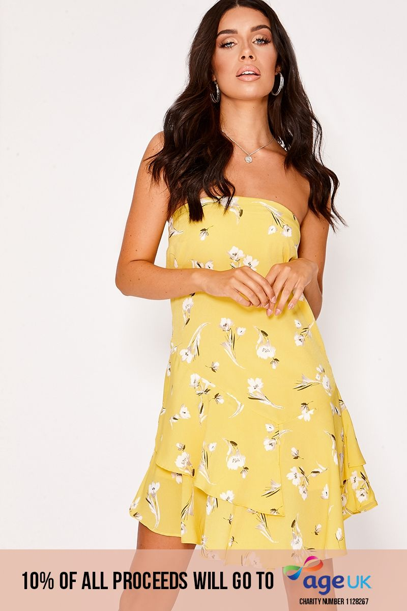 yellow floral bandeau frill hem dress