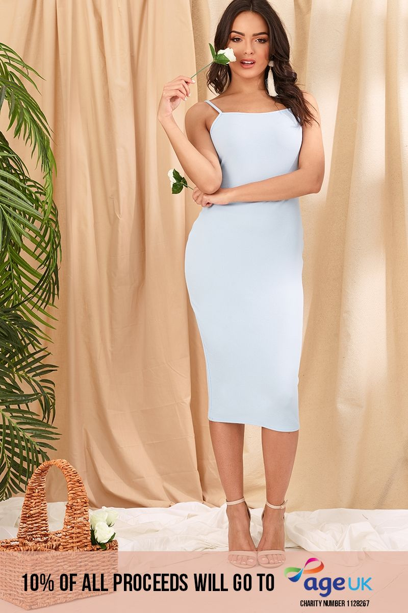NICKAILA BABY BLUE SQUARE NECK CREPE MIDI DRESS