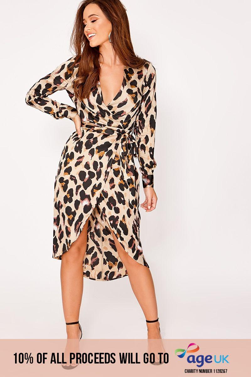 gold satin leopard print wrap midi dress