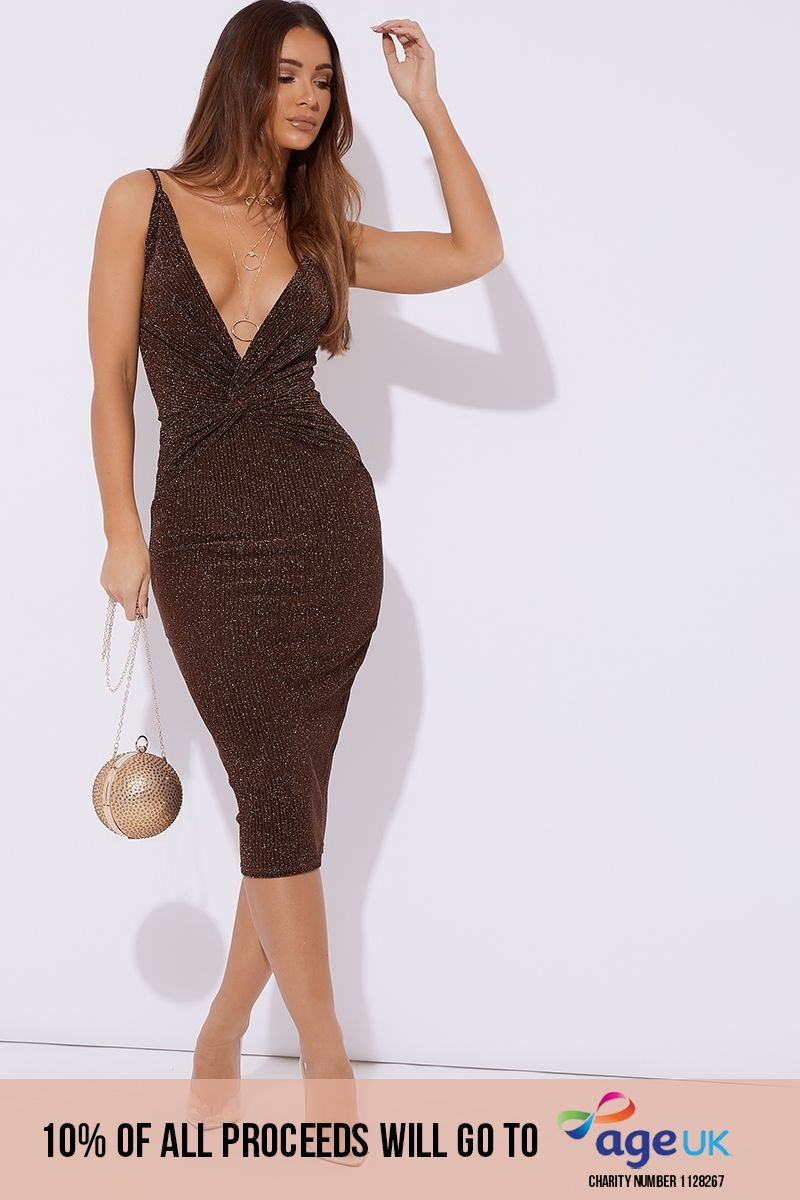 copper glitter plunge twist front midi dress