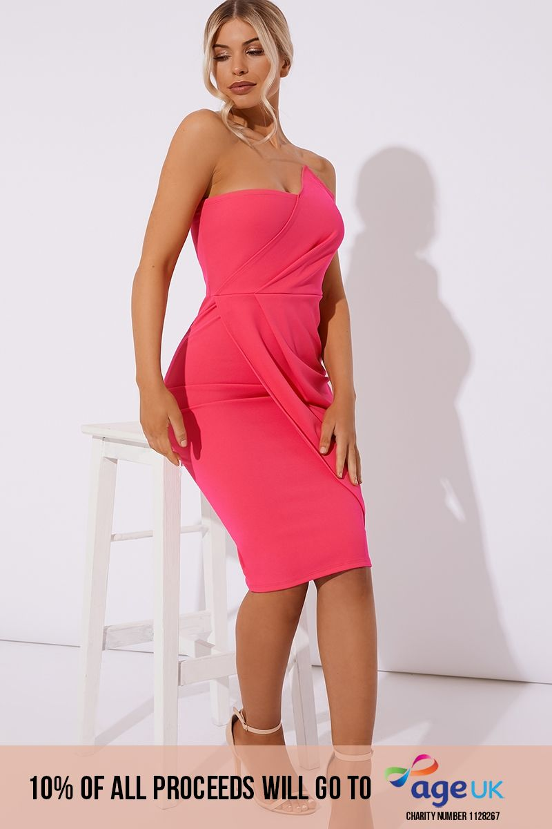 pink ruched front bandeau midi dress