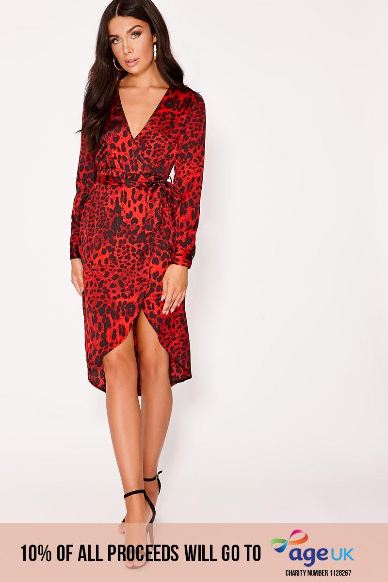 red leopard print wrap midi dress