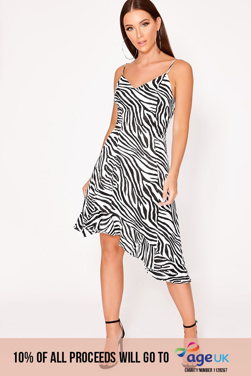 white zebra print satin slip dress