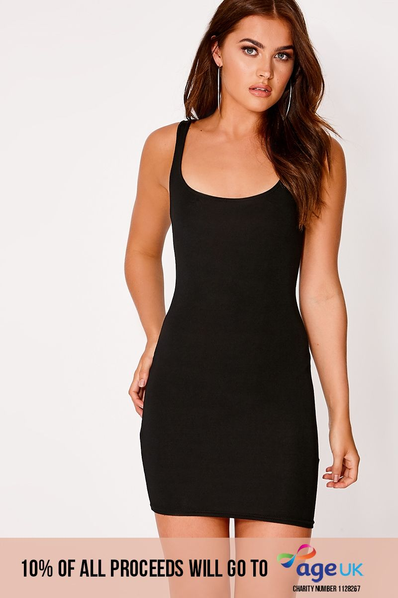 BASIC BLACK JERSEY SCOOP NECK BODYCON DRESS