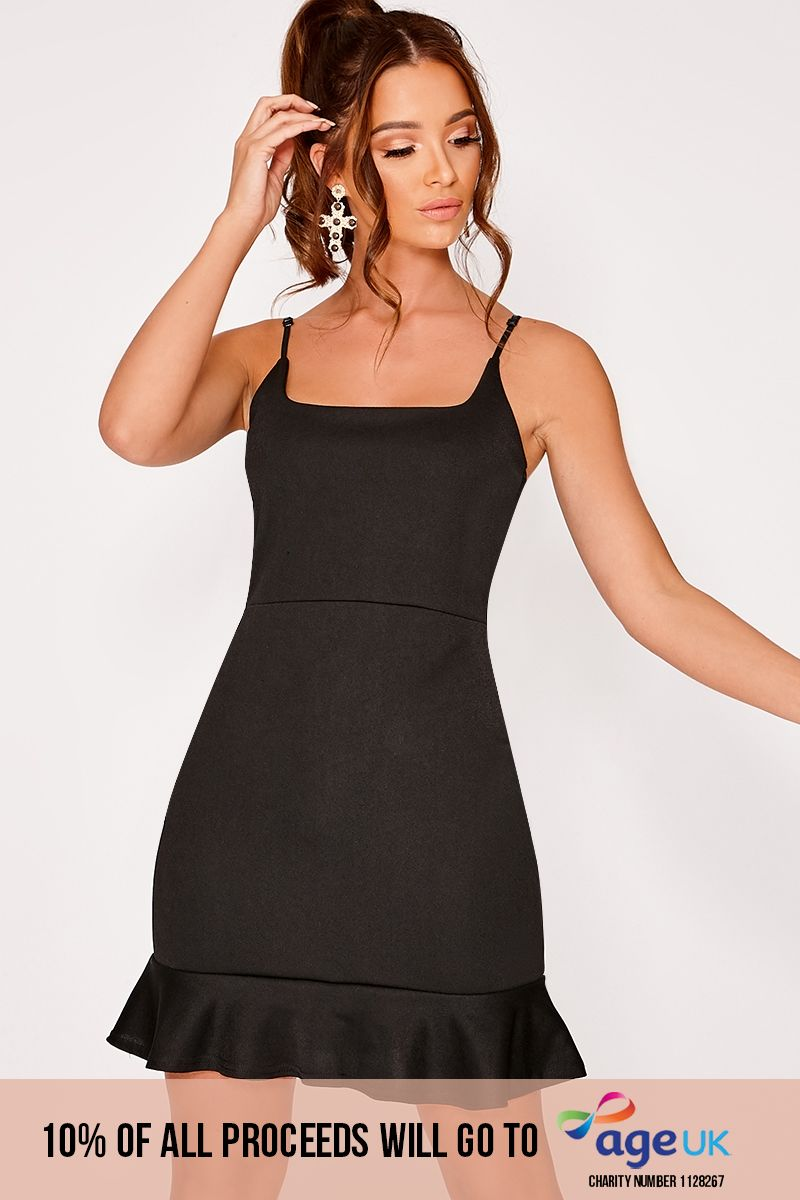 DYANIE BLACK FRILL HEM BODYCON DRESS