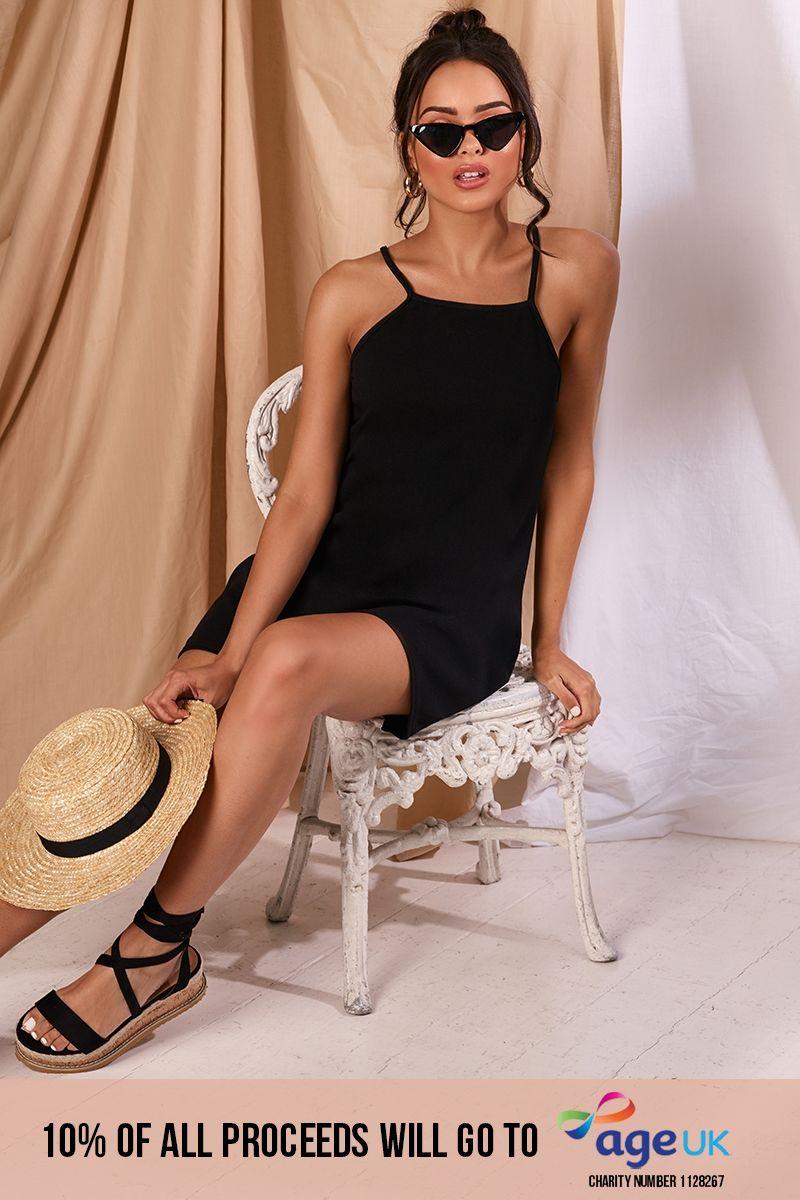 black crepe swing dress