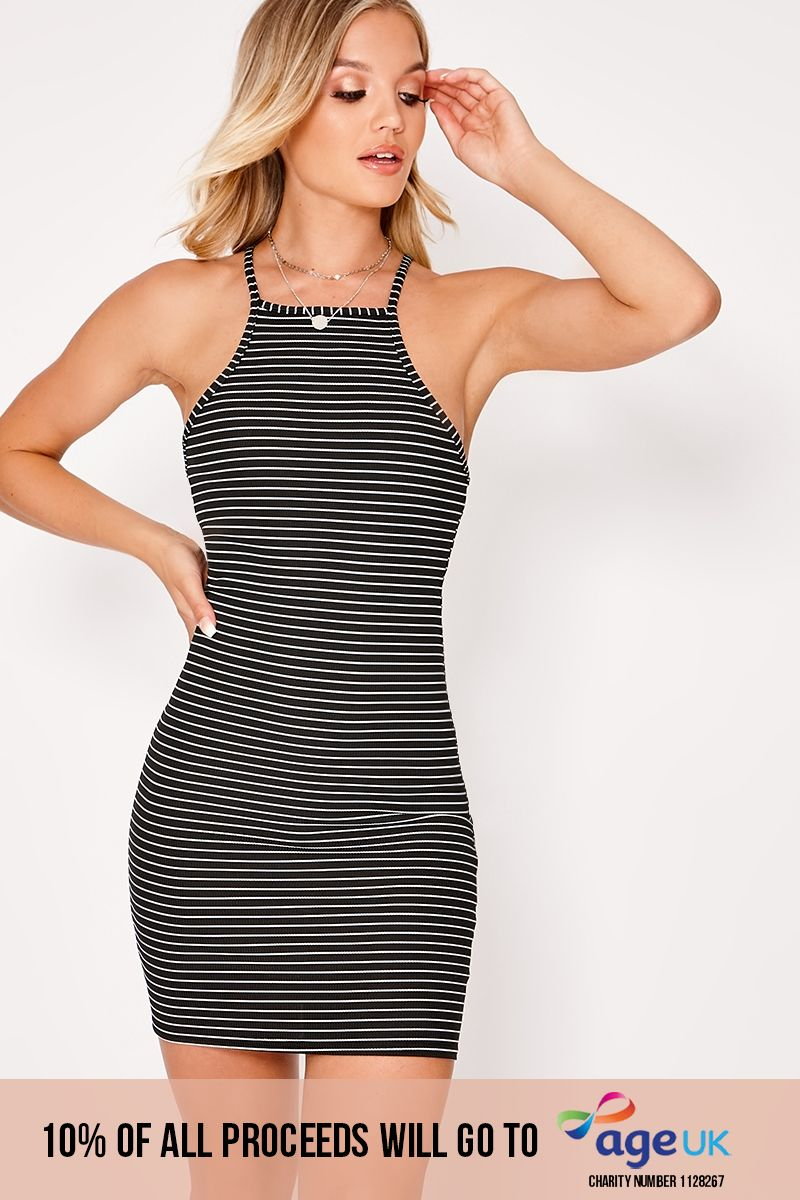 black striped rib high neck dress