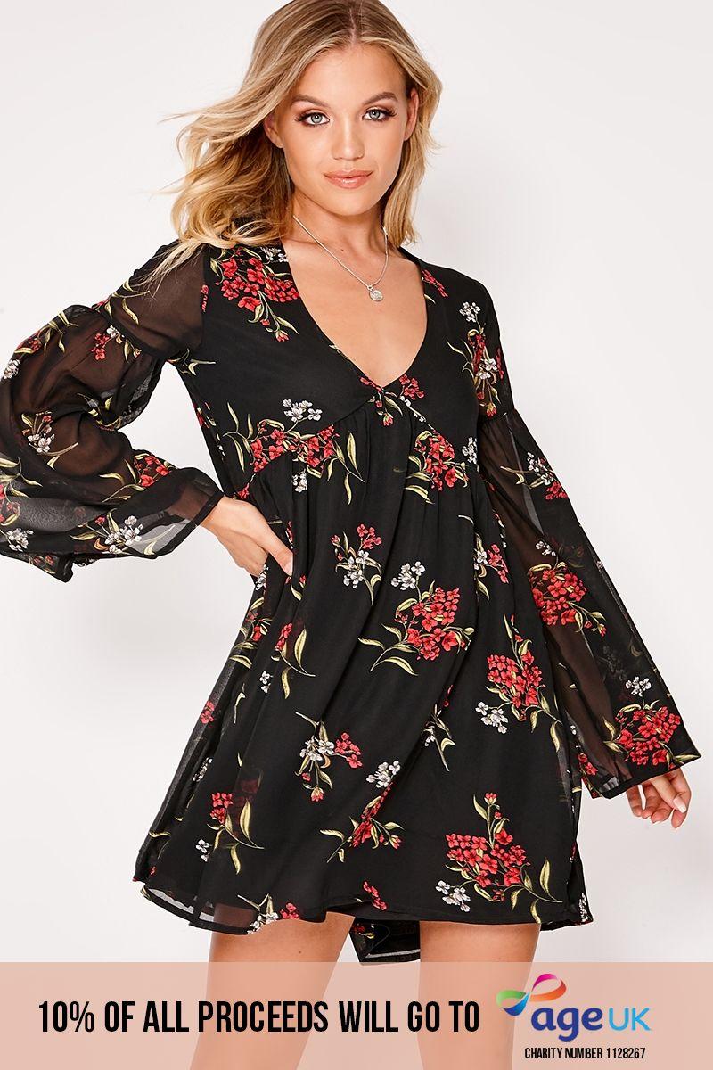 black oversized floral plunge flared sleeve smock dress