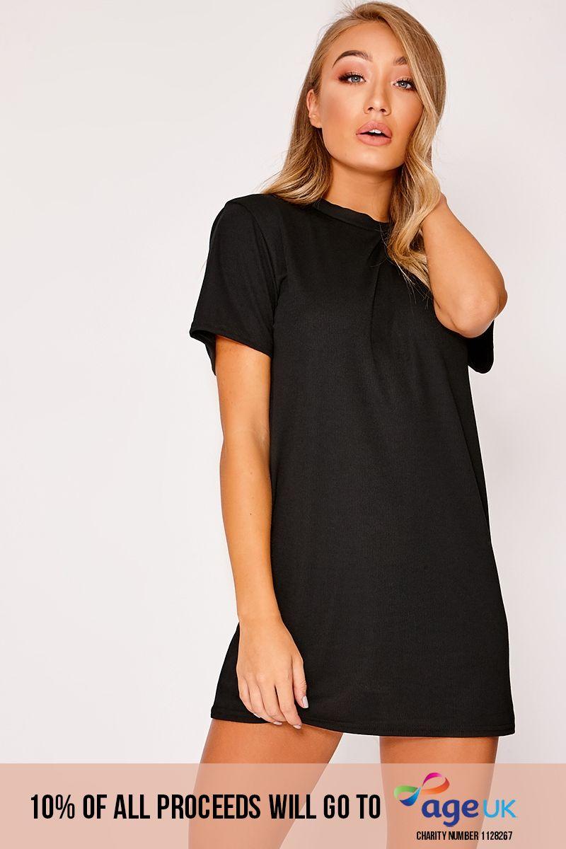 DANEU BLACK RIBBED T SHIRT DRESS