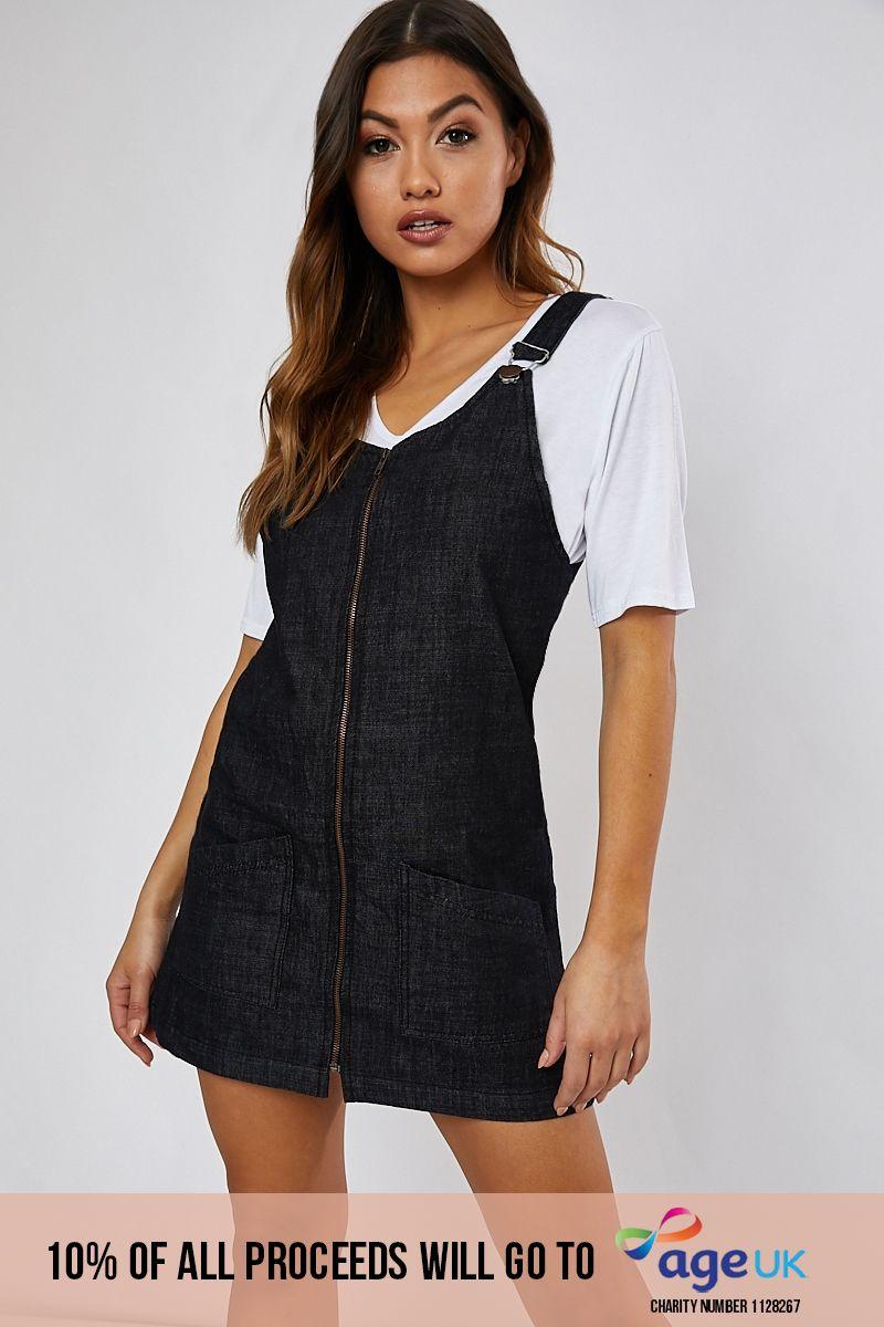 black denim zip through pinafore dress