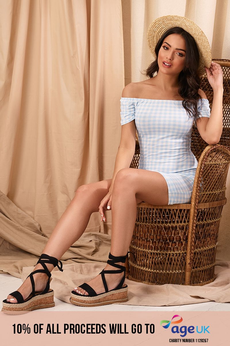 blue gingham bardot mini dress