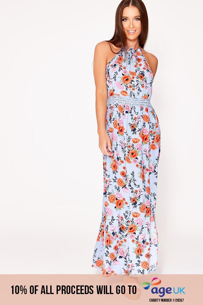 blue floral crochet trim maxi dress